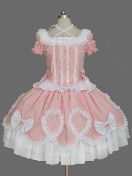 Milanoo Sweet Lolita Dress Pink Lolita Dress OP Short Sleeve Peplum Ruffle Bow Lolita One Piece Dress