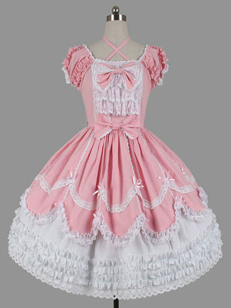 Milanoo Sweet Lolita OP Dress Black Ruffles Lolita One Piece Dresses