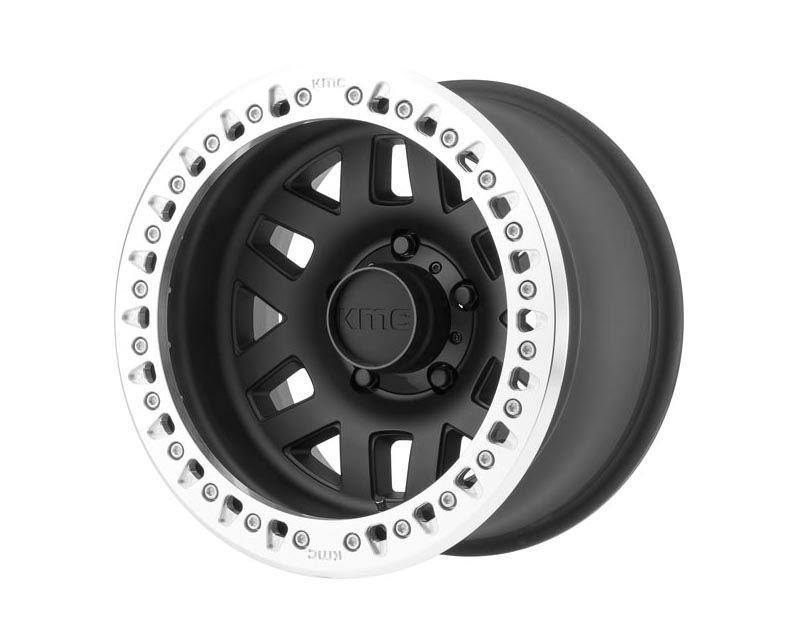 KMC Machete Crawl Wheel 17x9 5X5 -38mm Satin Black w/Machined Ring