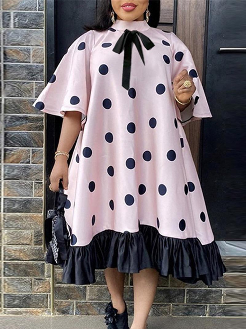 Ericdress Mid-Calf Patchwork Three-Quarter Sleeve Pullover Fall Dress