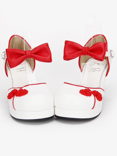 Milanoo White Qi Lolita Chunky Heels Shoes Red/Blue/Pink/Black Chinese Style Buttons Bows