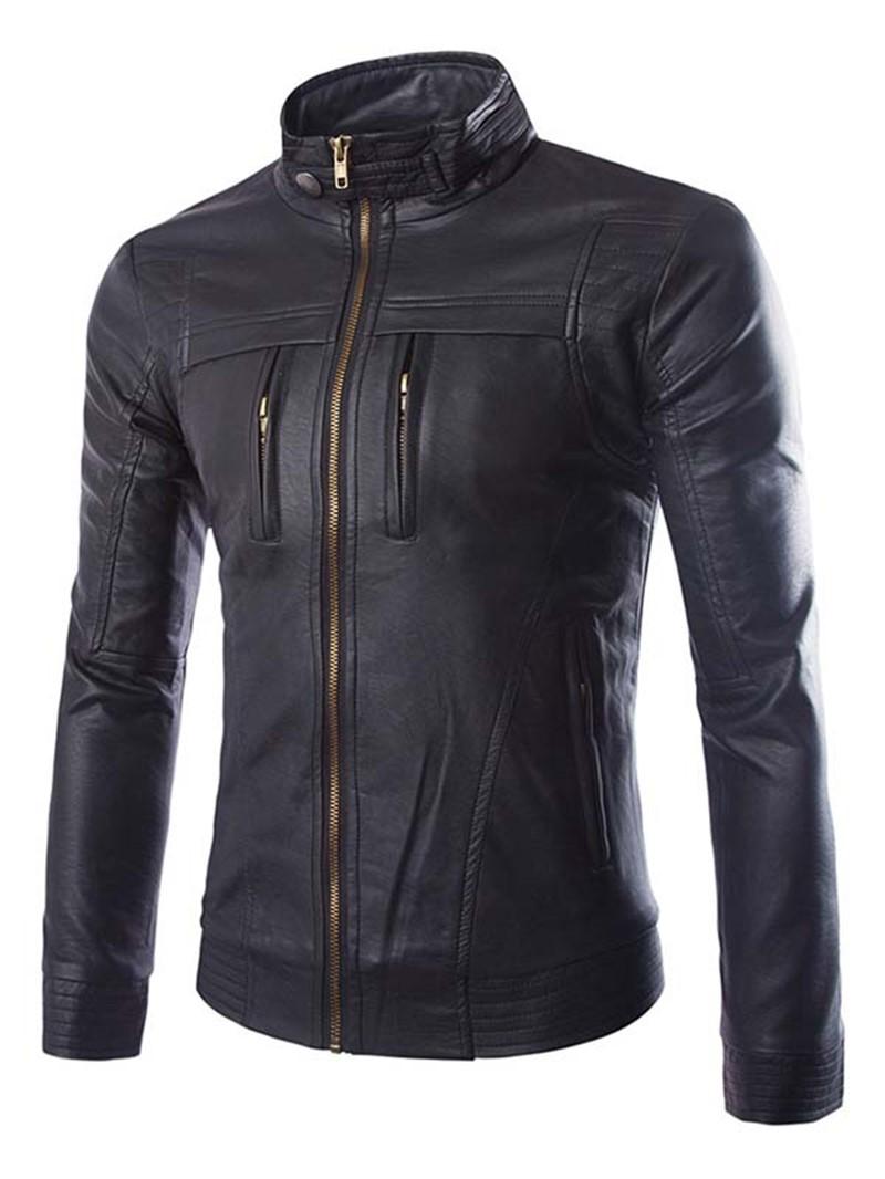 Ericdress Solid Stand Collar Full-Zip Men's Jacket