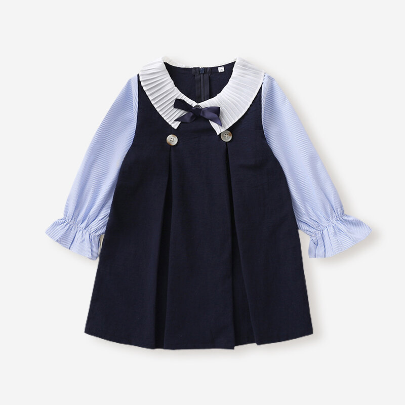 Girl's Striped Print Patchwork Long Sleeves Casual Dress For 1-5Y