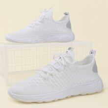 Guys Ribbed Detail Lace-up Front Sneakers