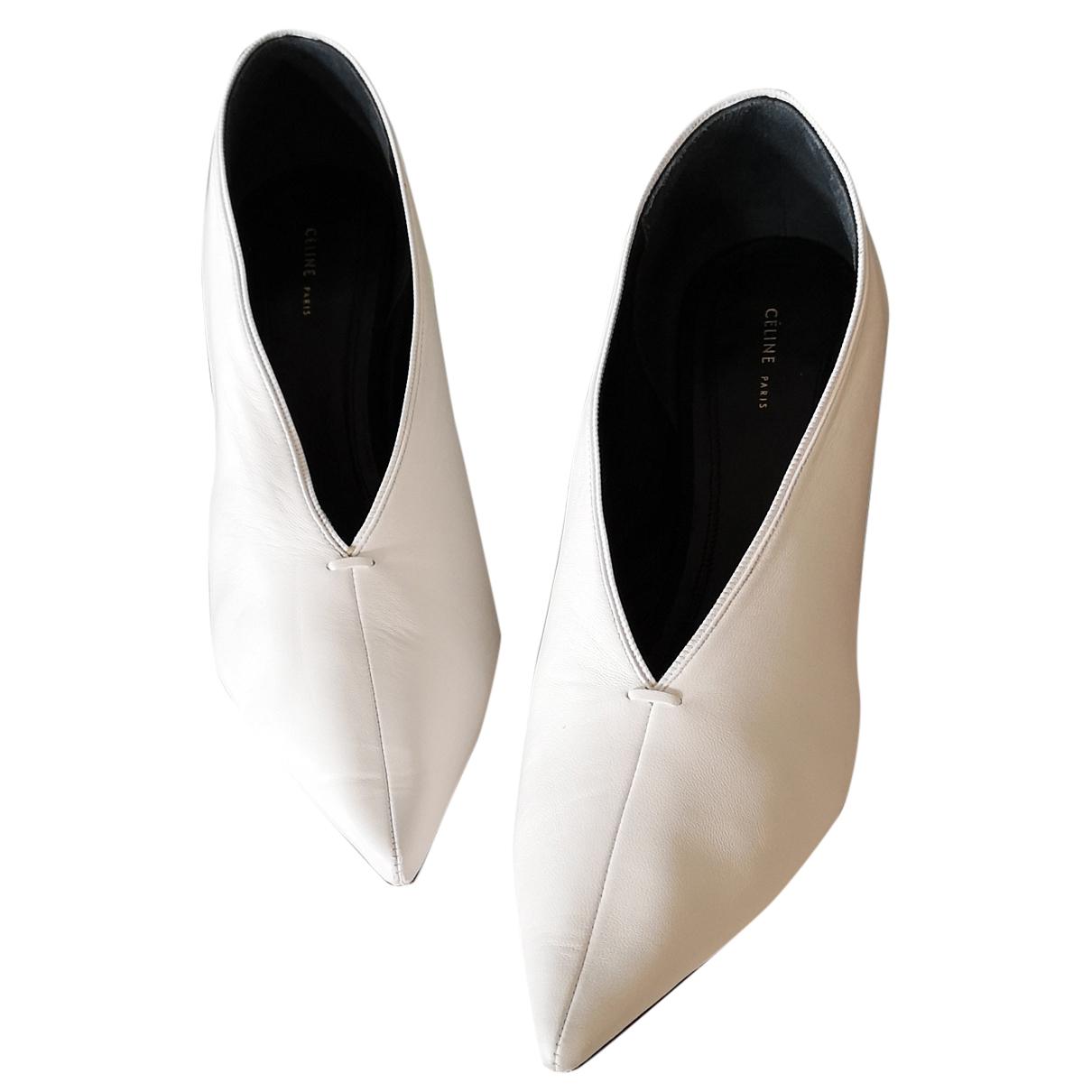 Celine Soft V Neck White Leather Heels for Women 38 EU