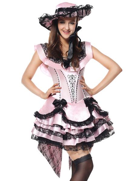Milanoo Halloween Costume Fairytale Women Pink Tiered Satin Dresses And Hat