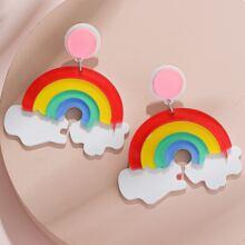 Rainbow Cloud Drop Earrings