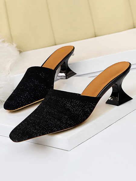 Milanoo Women Mules White Pointed Toe Slip On Slide Shoes