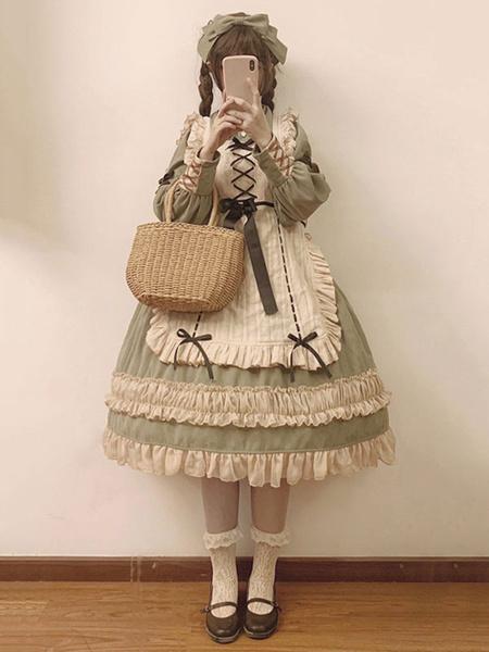 Milanoo Maid Style Lolita OP Drsess Lace Ruffle Bow Cotton Lolita One Piece Dress