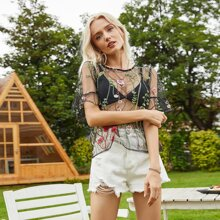 Floral Embroidery Mesh Peplum Top Without Bra