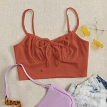 Tie Front Ruched Bust Cami Top