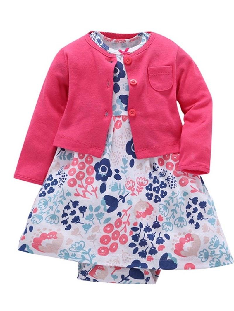 Ericdress Plain Coat+Floral Dress Baby Girl's Jumpsuit