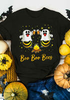 Halloween Boo Boo Bees Star Beer T-Shirt Tee - Black
