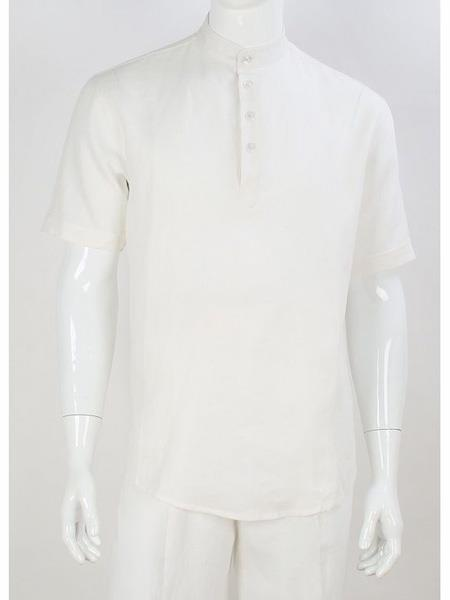 Mens Safari Shirt  Mandarin Collar Linen Shirt & Pants White
