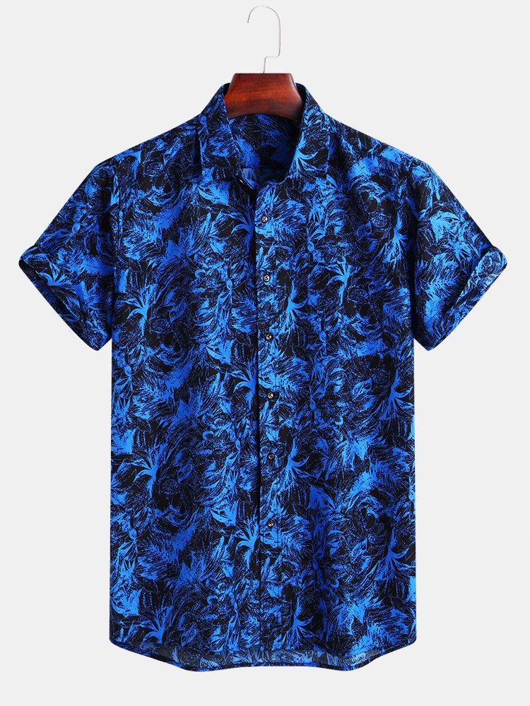 Mens Casual Funny Printed Holiday Turn-down Collar Short Sleeve Loose Shirt