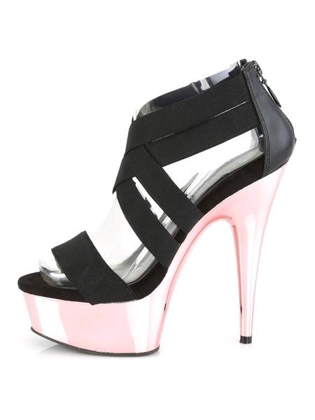 Milanoo Women Sexy Sandals Black PU Leather Peep Toe Sexy Sandals