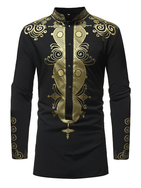 Milanoo Long Sleeve Shirt Ethnic Print Stand Collar Men Casual Shirt