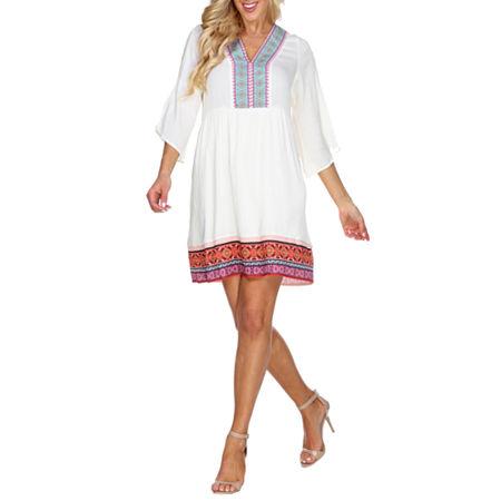 White Mark Gabrielle 3/4 Sleeve Bordered Sheath Dress, Large , White