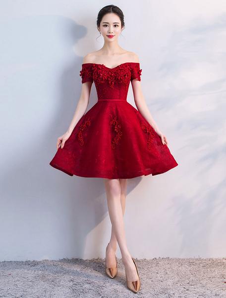 Milanoo Short Prom Dresses Burgundy Lace Off The Shoulder Graduation Dress A Line Mini Party Dress