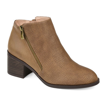 Journee Collection Womens Sabrina Stacked Heel Booties, 9 Medium, Beige