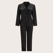 Plus Solid Blazer With Pants
