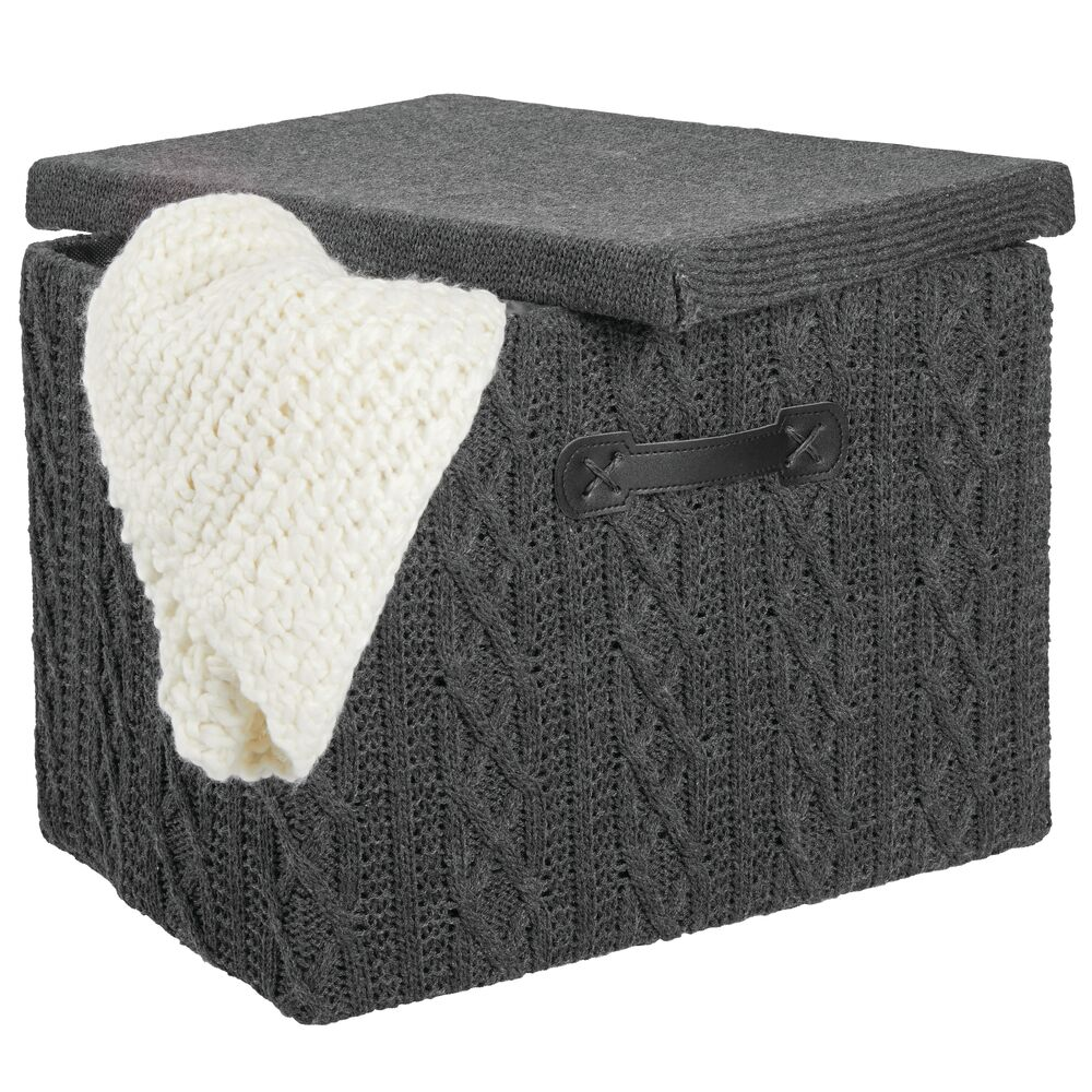 Small Knit Fabric Cube Storage Box with Lid in Charcoal Gray, 10.5