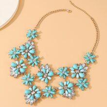 Gemstone Decor Floral Shaped Necklace