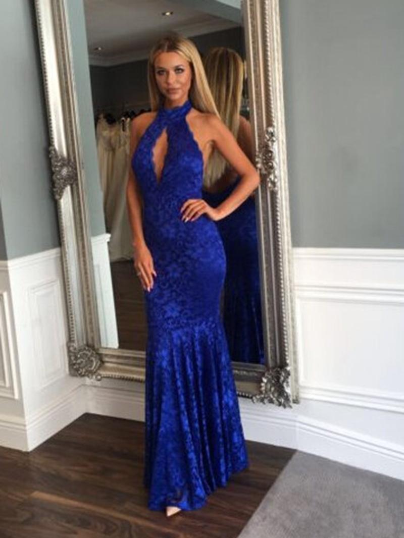 Ericdress Halter Backless Lace Mermaid Evening Dress