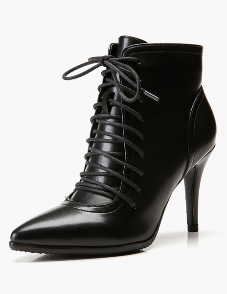 Milanoo Black Ankle Boots Women Pointed Toe Lace Up High Heel Booties