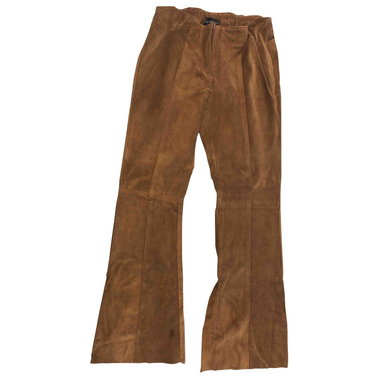 Non Signé / Unsigned \N Camel Suede Trousers for Women 42 IT