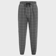 Men Striped Tape Side Glen Plaid Pants