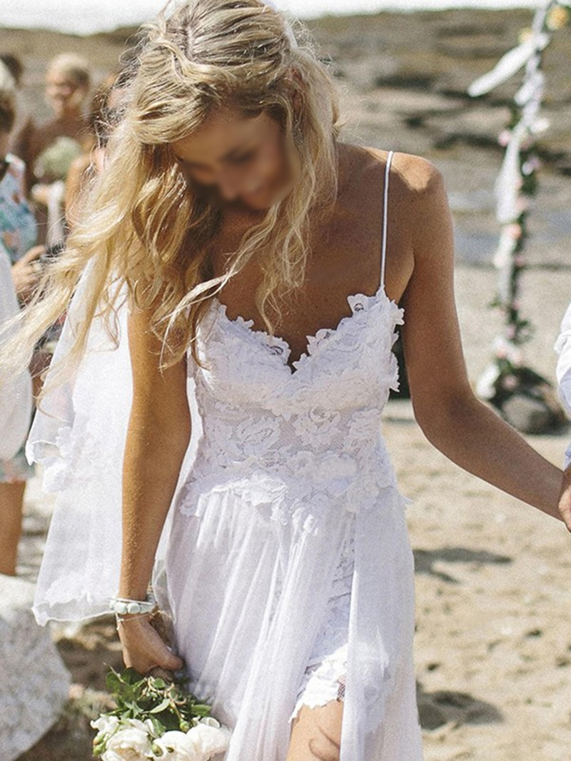 Ericdress Straps Lace Split-Front Beach Wedding Dress
