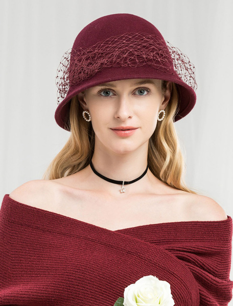 Milanoo Crochet Hat Retro Wool Winter Fascinator Hat Women Royal Felt Cap Halloween