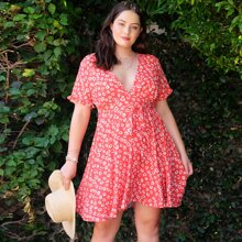 Plus V Neck Belted Floral Dress