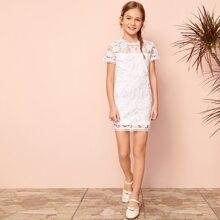 Girls Lace Tape Embroidered Mesh Overlay Dress