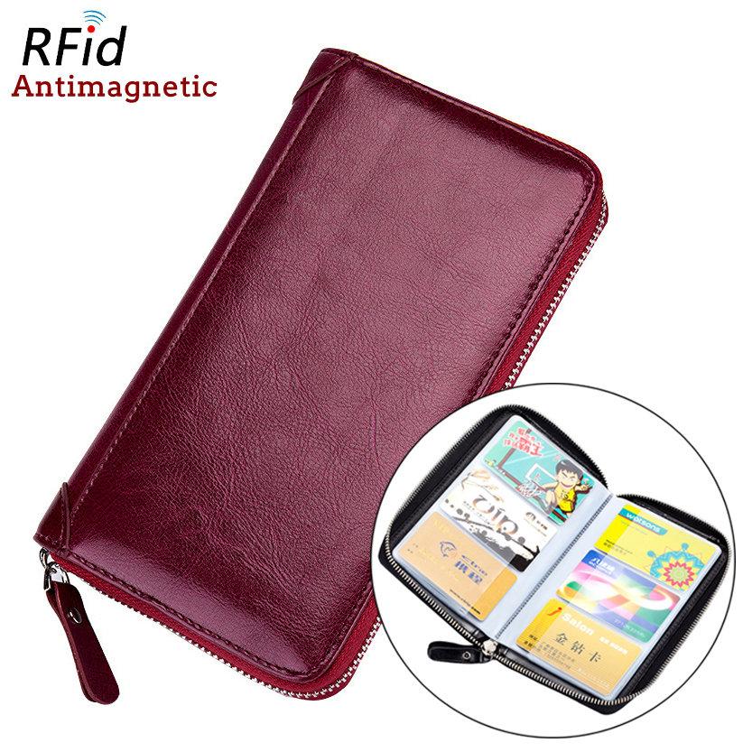 Women Men RFID Antimagnetic Leather 60 Card Slots Multi-slots Passport Pocket Card Holder LongWallet