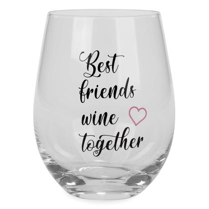 Best Friends - Verre à vin sans pied de base Grand cadeau 3.5 x 5