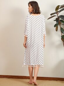 Polka Dot Tassel Tie Front Night Dress