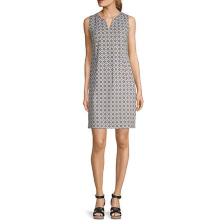 Liz Claiborne Sleeveless Shift Dress, Small , Green