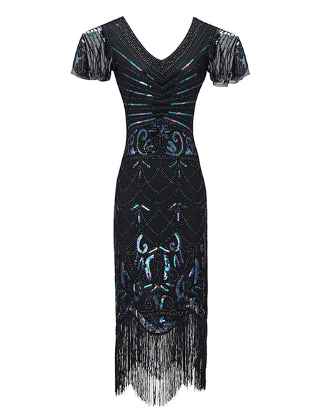 Milanoo Flapper Dress 1920s Fashion Style Outfits Sequin Fringe Cap Sleeves Great Gatsby Dress For Women Retro Dress with Tassels 20s Party Dress