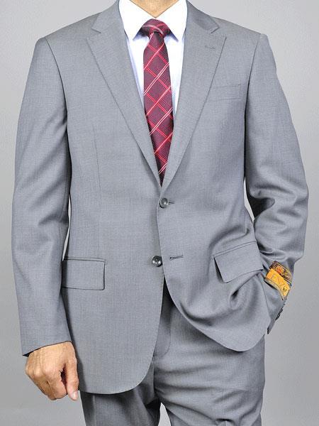Enzo tovare Mens Grey Sharkskin 2Button Notch Lapel Slim Fit Wool Suit