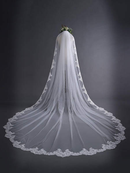 Milanoo Cathedral Wedding Veil Comb Ecru White Tulle Lace Applique Bridal Accessories