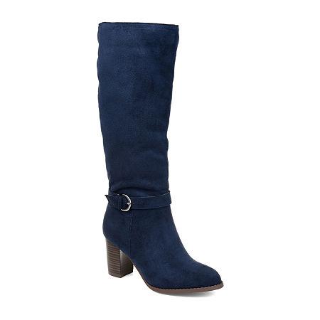Journee Collection Womens Joelle Dress Boots Zip Stacked Heel, 12 Medium, Blue
