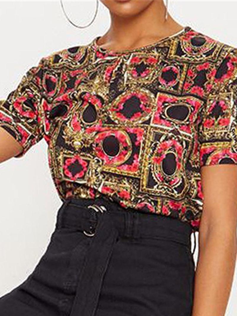 Ericdress Color Block Print Short Sleeve Fashion T-Shirt