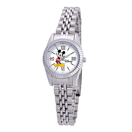 Disney Status Womens Mickey Mouse Silver-Tone Metal Bracelet Watch, One Size , No Color Family