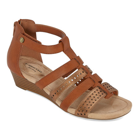 St. John's Bay Womens Nizki Wedge Sandals, 7 1/2 Medium, Brown