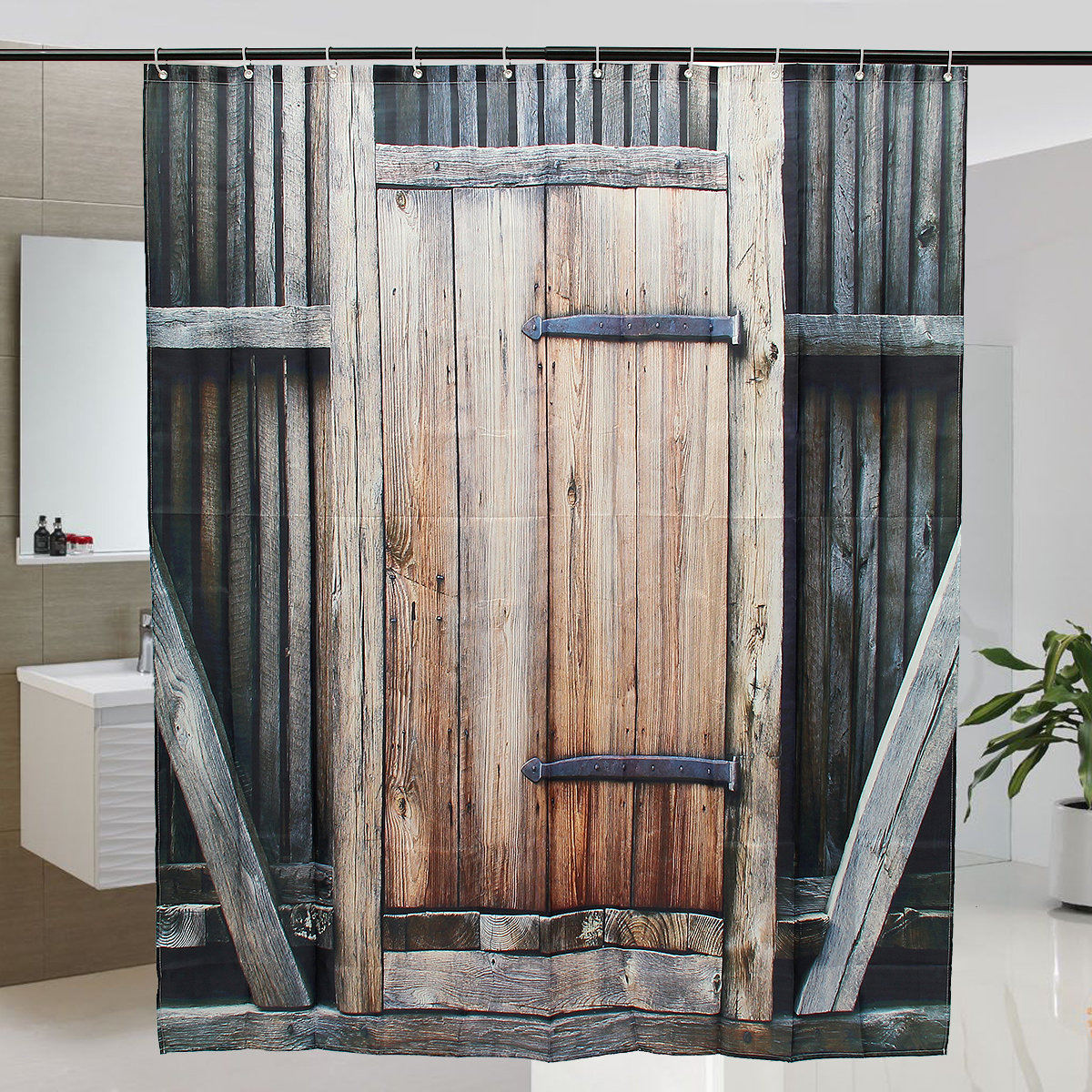 Wooden Door Theme Waterproof Polyester Fabric Bathroom Shower Curtain With Hooks 2 Size Choices