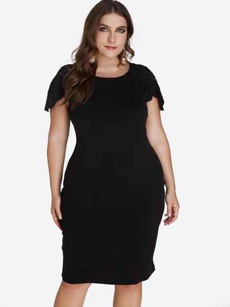 Yoins Plus Size Black Hollow Design Cap Sleeves Dress
