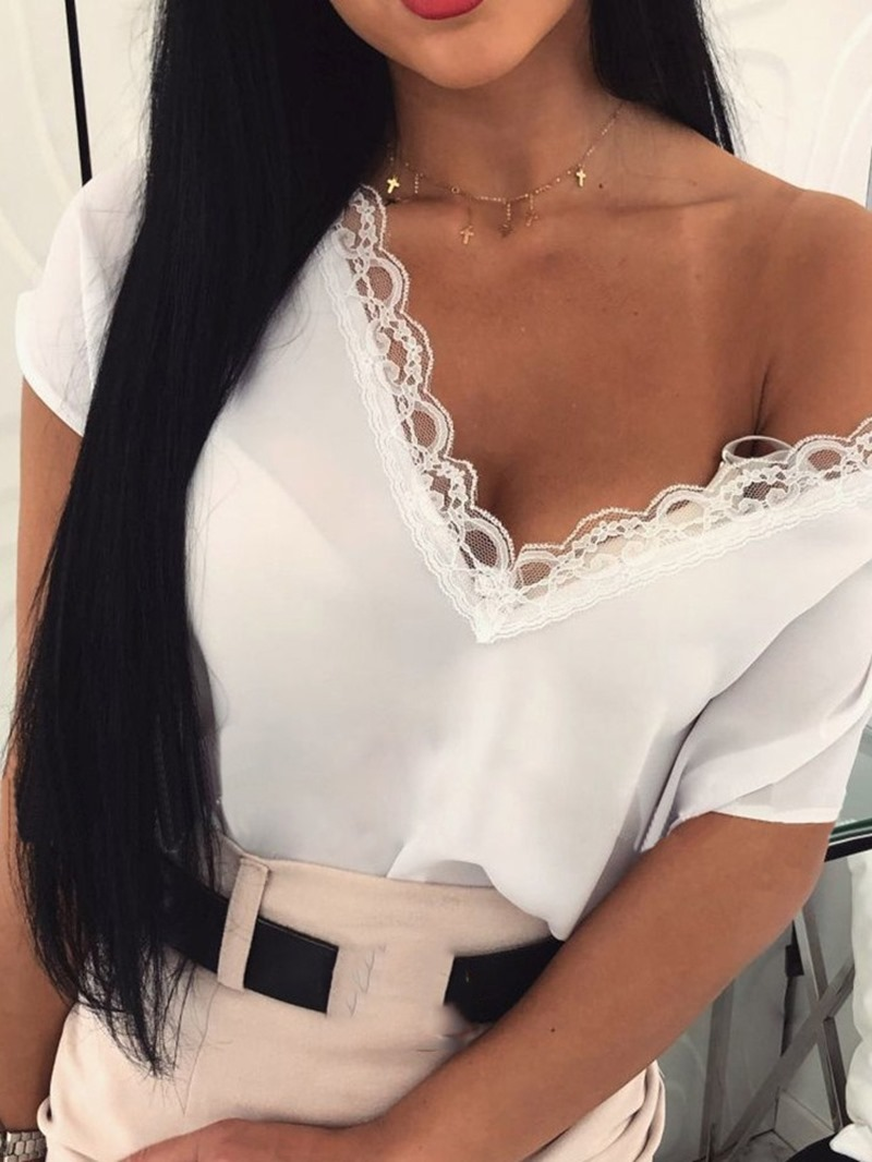 Ericdress Patchwork Lace Plain Short Sleeve Loose T-Shirt