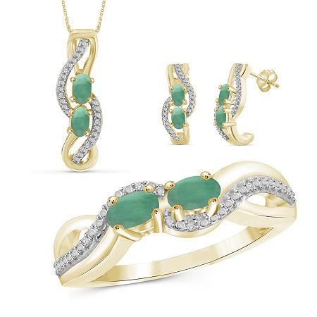 Diamond Accent Genuine Green Emerald 14K Gold Over Silver 3-pc. Jewelry Set, 7 , No Color Family